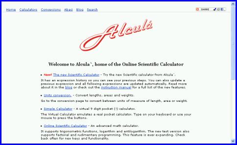 Alcula's main page