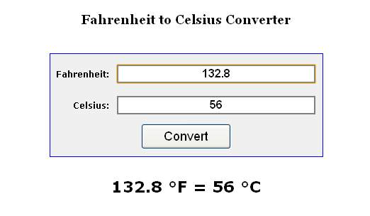 The image below shows the Fahrenheit to Celsius conversion page: