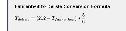 Fahrenheit to Delisle conversion formula
