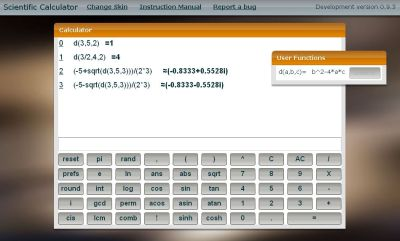 snapshot of the scientific calculator